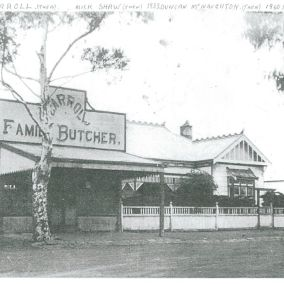 Carroll : Mick Shaw : McNaughton's butcher shop pre-1940 on the corner of River and Rothwell Streets. This building was moved to Mortimer St, Werribee in the mid 1950s,