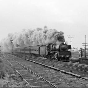 Steam train through Little River station August 1969